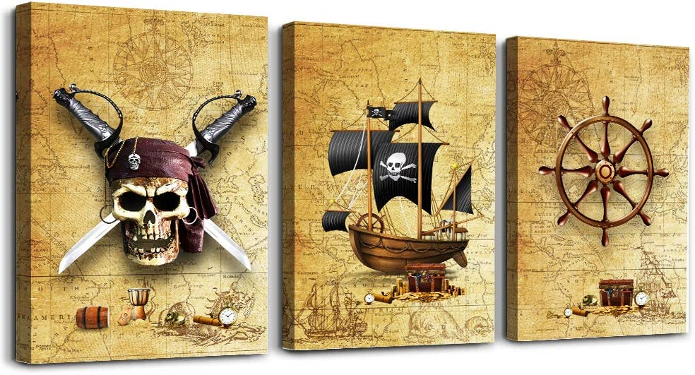 Pirate Ship and rudders Canvas Wall Art for Living Room Bedroom Decoration Wall Painting,Bathroom Wall Decor Home Decoration Kitchen Posters Artwork,Adventure map Decoration 16x12 inch/ 3 Piece Set