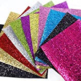 "Arts & Crafts : 11 pcs 8"" x 13"" (20cm x 34cm) Glitter Sequins Fabric Thick Canvas Back Craft DIY Craft Assorted Colours (11 Color)"