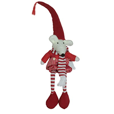 "Northlight 15"" Red and White Striped Sitting Boy Mouse Christmas Tabletop Decor: Home & Kitchen"