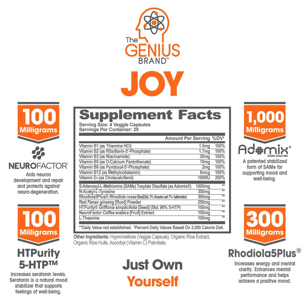 Genius Joy - Serotonin Mood Booster for Anxiety Relief, Wellness & Brain  Support, Nootropic