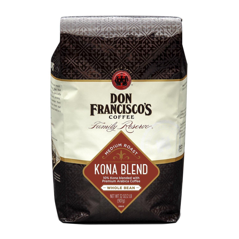 Don Francisco's Kona Blend Whole Bean Coffee, Medium Roast, 100% Arabica, 32-Ounce Bag