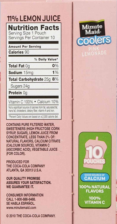 Pink lemonade nutrition