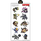 Cool Overwatch Inspired Vinyl Laptop Decals, Custom sticker Sheet, Cute Anime Decals, Clear Stickers for Mobile Phones & Laptops, Water Resistant & Easy Peel (Chibi Style 2)