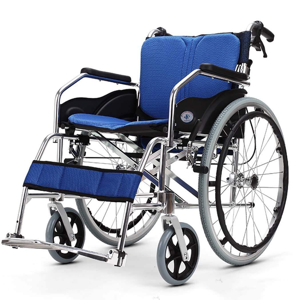 【高い素材】 HSBAIS ドライブメディカルトランスポート車いす軽量折りたたみ B07LF5Y97D、丈夫なアルミ合金製のエレベイティングレッグは、簡単に移動できます,blue_18