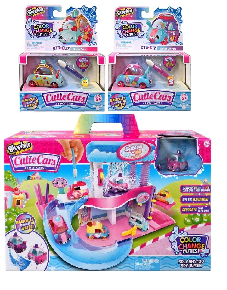 Shopkins Cutie Cars Splash /'N/' GO Spa Wash with an Additional 2 Cutie Cars Series 3 Including Blizy Keychain. Styles May Vary