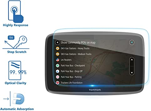 LFOTPP Protector de Pantalla para TomTom GO 620 6200 6250 GPS Pelicula Protectora de Cristal Templado 2 piezas 9H Anti-ara/ñazos Transparente