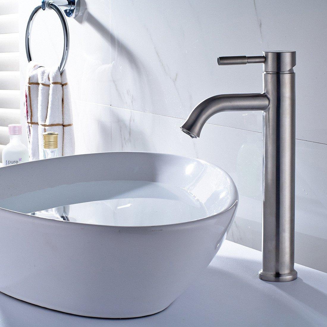 Kokeruup Waschtischarmatur gebürstet   für Badezimmer     Wasserhahn Höhe     Mischer für warmes und kaltes Wasser