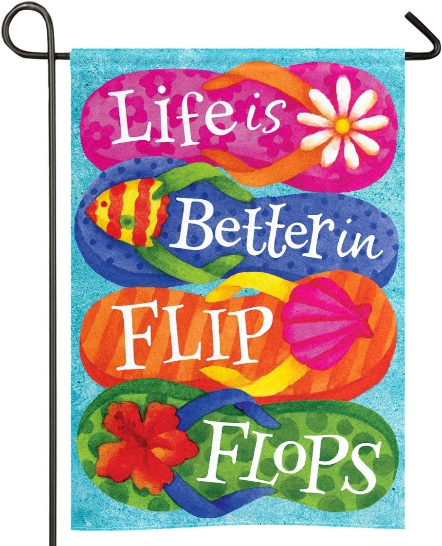 Joinfine Life is Better Flip Flops Garden Flag, Rectangle Double Sided, Home Decorative Garden Flags - Weather Resistant & Double Stitched - 28 x 40 Inch