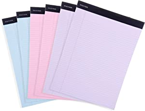 Mintra Office Legal Pads - ((BASIC PASTEL 6pk, 8.5in x 11in, NARROW RULED)) - 50 Sheets per Notepad, Micro perforated Writing Pad, Notebook Paper for School, College, Office, Business