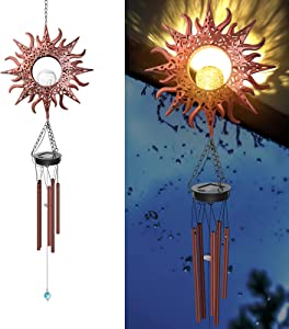 Solar Wind Chimes, Metal Retro Sun Wind Chime Garden Lights Decoration Outdoor Crackle Glass Ball Warm LED Wind Bell Outside Waterproof Hanging Decor, Gift for Garden Patio Yard