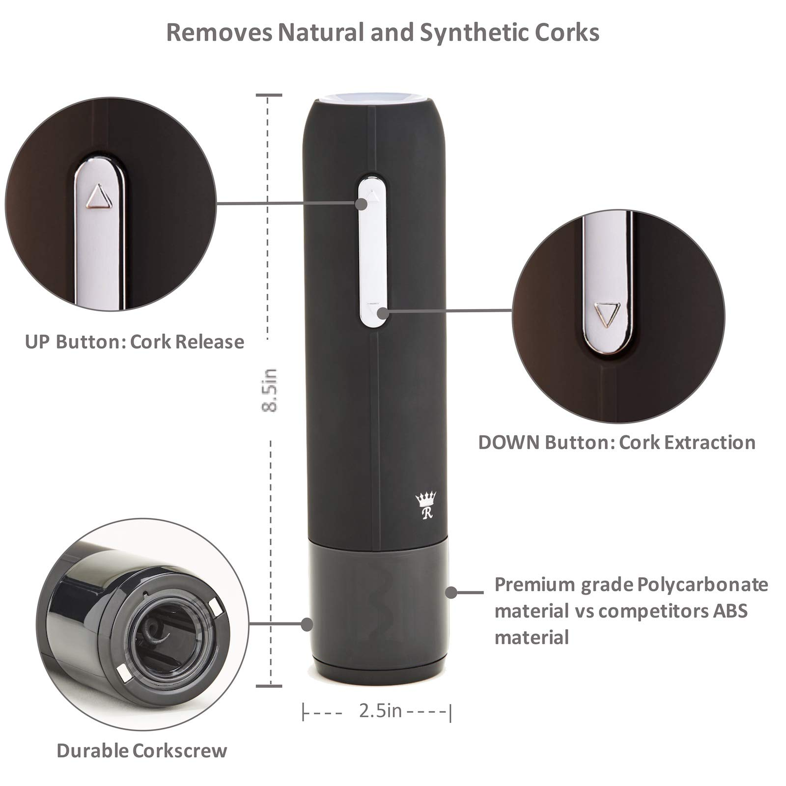 Royaluxe - Deluxe 7 Piece Electric Wine Opener Gift Set | Rechargeable Wine Bottle Opener with Aerator, Premium Wine Preservation Vacuum System, 2 Bottle Stoppers, Foil Cutter & Charging Base | Elegant Matte Black Finish with Stainless Steel Accents by Royaluxe (Image #3)