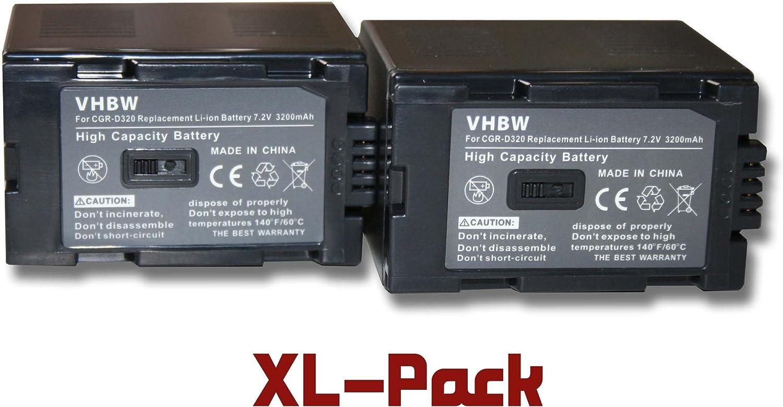 vhbw 2 x Li-Ion batería 3200mAh 7.2V para cámara Panasonic NV-GS11 ...