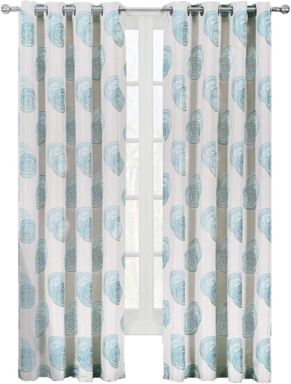 2 Panels Lafayette Modern Abstract Jacquard Grommet Window Drapes /& Curtains