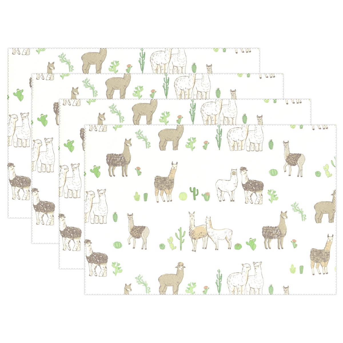 Top Carpenter Funny Lama Animal And Cactus Place Mats Washable Heat Resistant Polyester Table Mats 12'' x 18'', Set of 4