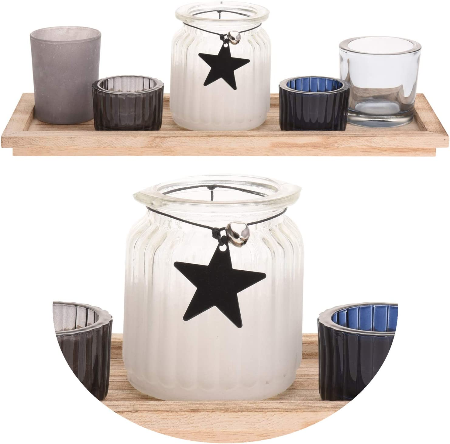 LS-LebenStil Holz Teelichthalter Stern 33cm Set Tablett Glas Windlicht Teelicht Kerzentablett 5 Gl/äser