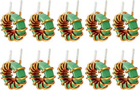 Sourcingmap 10Pcs Vertical Toroid Magnetic Inductor Monolayer Wire Wind Wound 100uH 6A Inductance Coil