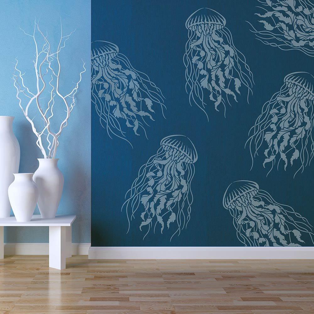 Amazon com: Large Jellyfish Wall Stencil - Reusable Stencils