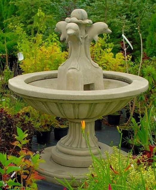 Casa Padrino Fuente de Jardín Art Nouveau Gris Ø 130 x H. 145 cm - Fuente Redonda con Delfines Decorativos - Decoración de Jardín: Amazon.es: Hogar