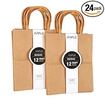 Amazon.com: Bolsas de papel kraft con asas: Health ...