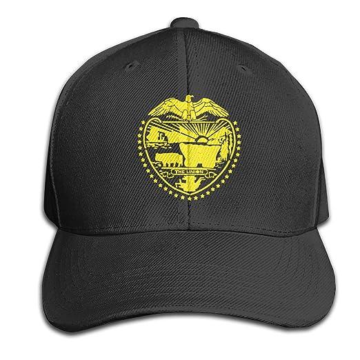 c55c7c9e219 Oregon State Flag Men Baseball Hat Trucker Hat Dad Cap Plain Cap Black