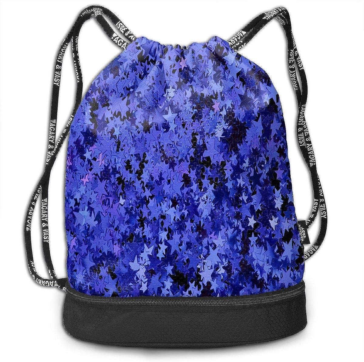 Sport Unisex Bundle Drawstring Backpack Blue Vintage Pattern Travel Durable Large Space Gym Sack Vintage Waterproof