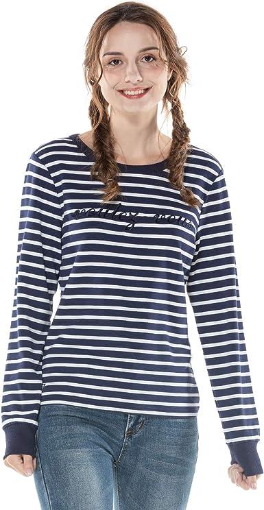 Extreme Pop Mujer Camisetas de Rayas Camisas de Cuello ...