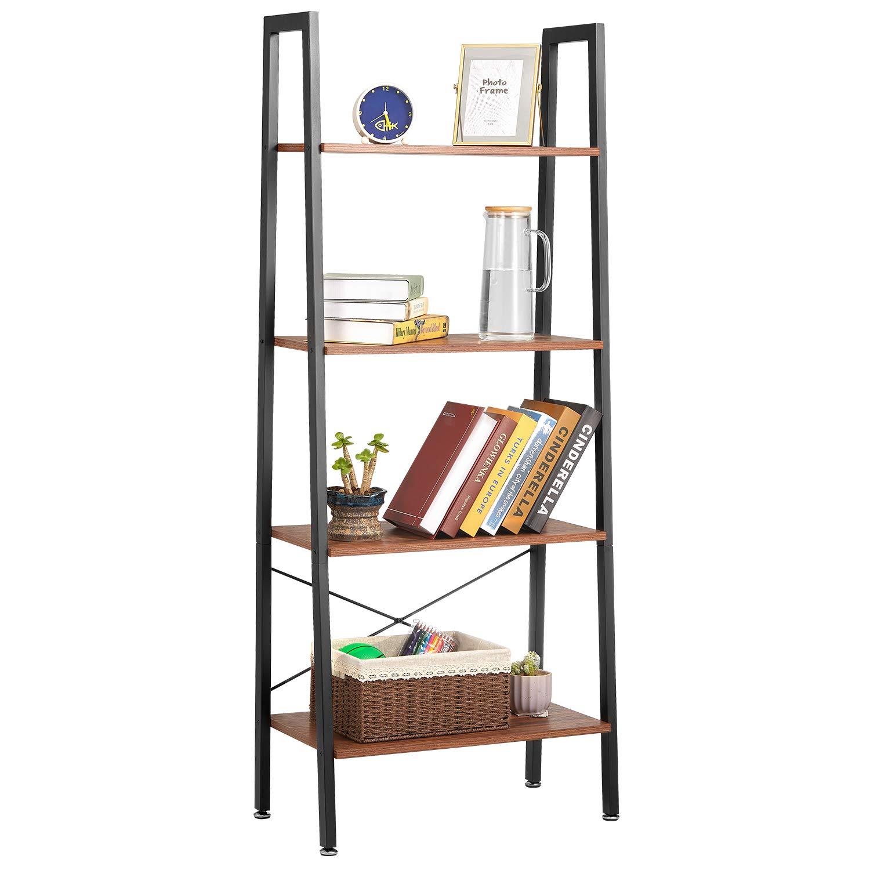 Ladder Shelf Kealive Industrial 4-Tier Bookshelf Storage Rack Shelves, Wood Look Furniture of Metal Frame, Greater Capacity and Space Saving for Bathroom Living Room, Rustic Brown, 24 x 14 x 59 In by kealive