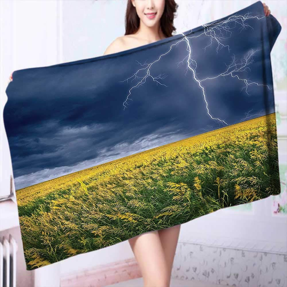 PRUNUS Quick-Dry Bath Towel Decor Lightning Bolt Above The Seasonal Field Electric Vibes Mother Nature Theme Image Ideal for Everyday use