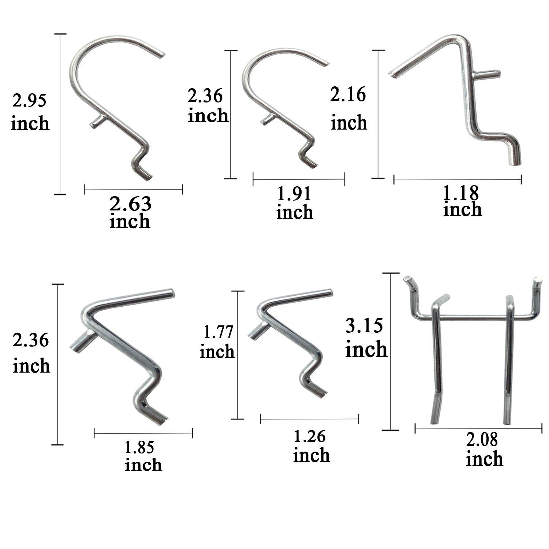 Pegboard Hooks Assortment - 50Pcs Peg Hook Organization by Apoulin (Image #2)