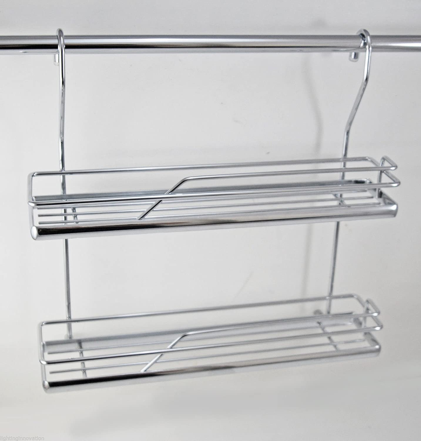 DOUBLE SPICE RACK KITCHEN RAIL WALL MOUNTED HANGING RAILING SYSTEM CHROME Lighting Innovations