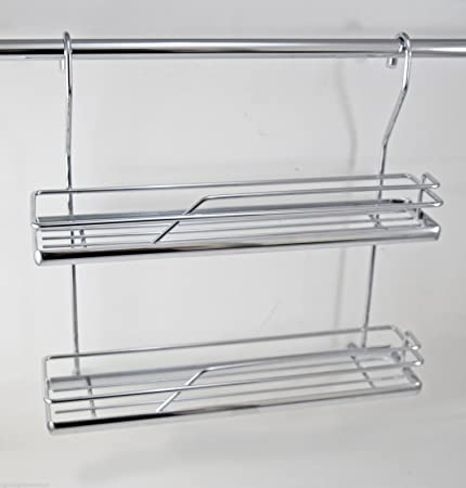 DOUBLE SPICE RACK KITCHEN RAIL WALL MOUNTED HANGING RAILING SYSTEM CHROME
