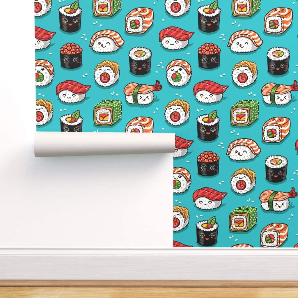 Spoonflower Peel and Stick Removable Wallpaper, Sushi Japanese Rice Roll Sashimi Food Seafood Kawaii Fish Print, Self-Adhesive Wallpaper 24in x 36in Roll