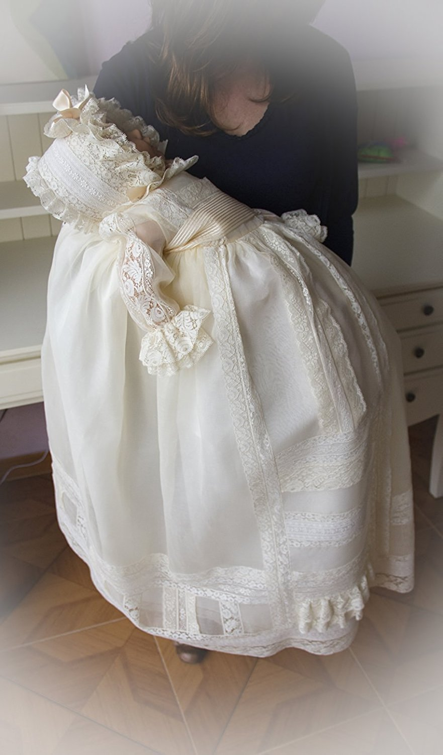 Banfvting Lace Long Baby Girls Dress Christening Gowns With Sleeves by Banfvting (Image #3)