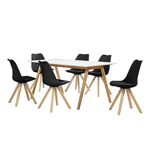 en.casa] Set de Comedor Mesa bambú/Blanca 180x80 + 6 sillas Negras ...