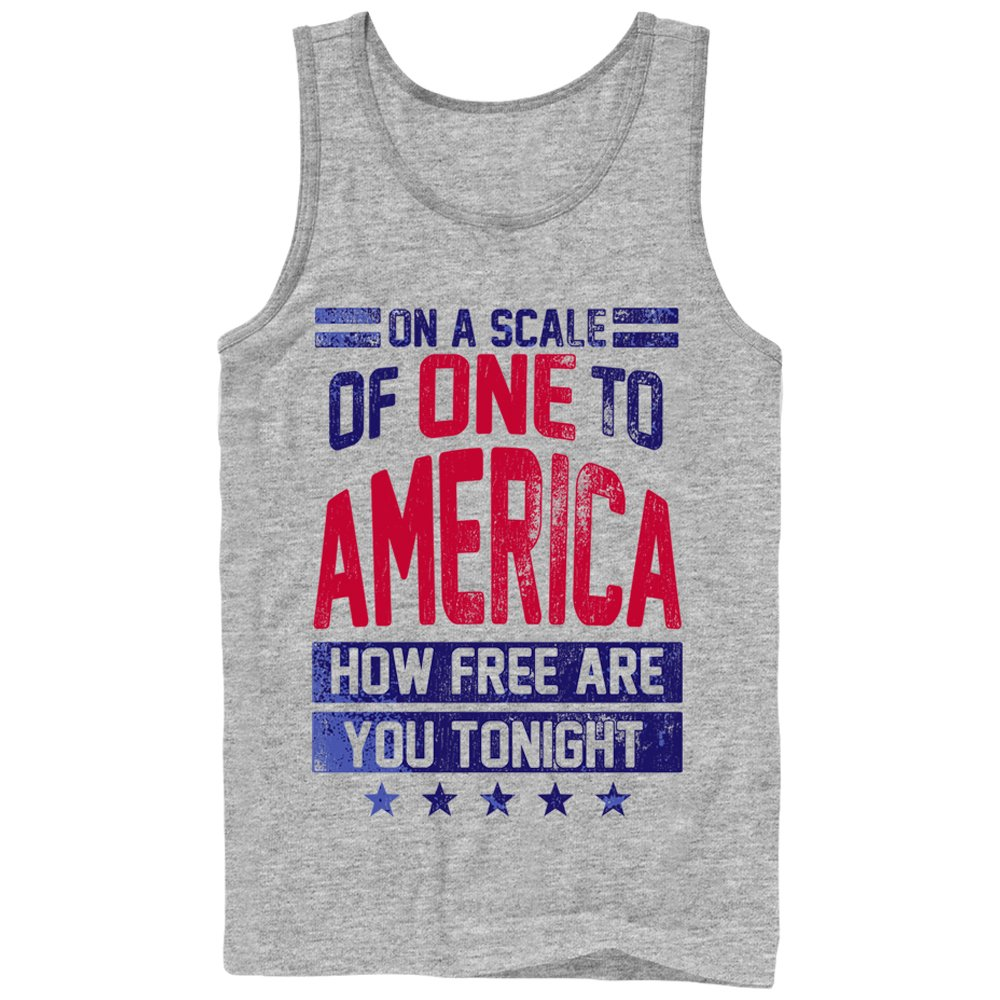 4e34bb469279d Amazon.com  Chin Up Men s 4th of July America How Free are You Tonight Tank  Top  Clothing