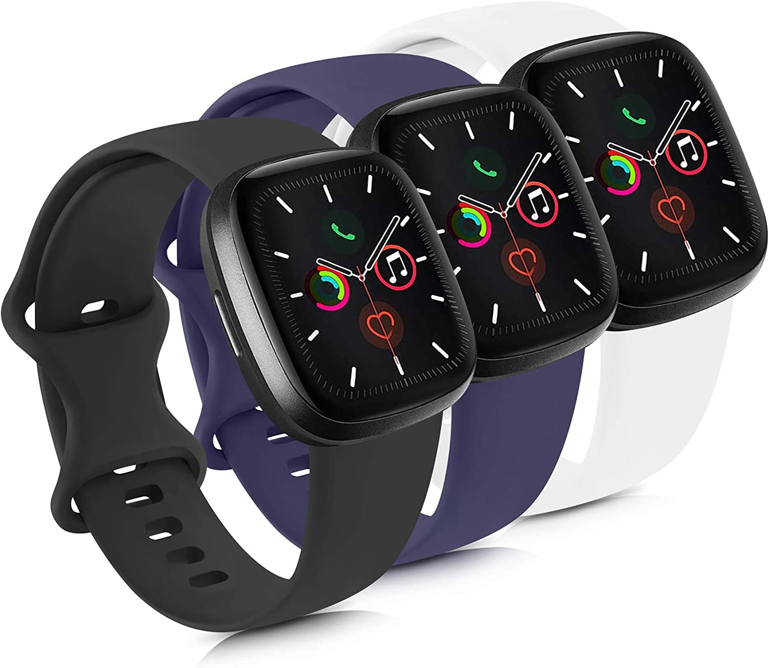 Mugust 3 Pack Sport Bands Compatible with Apple Watch Bands 38mm 42mm 40mm 44mm, Soft Silicone Replacement Strap (Black/Navy Blue/White, 42mm/44mm-M/L)