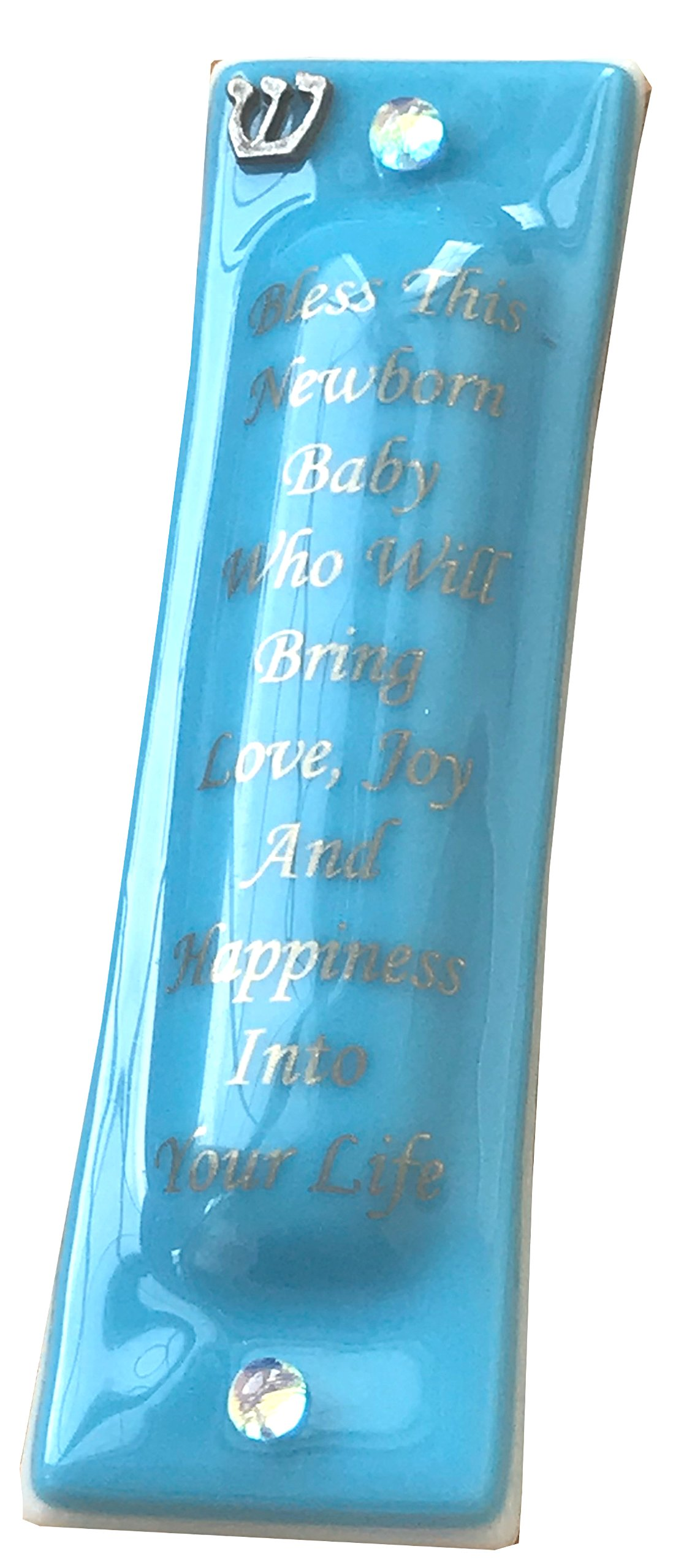 Baby Blessing Mezuzah Bless This Baby Who Will Bring Love, Joy and Happiness into Your Life Gift Box Non Kosher Scroll Included Hand Made in USA Guaranteed for Life (Ivory) (Opal Blue)