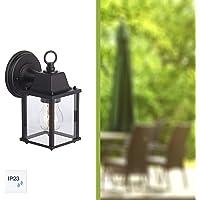 Brilliant 96186/06 Irvin - Lámpara de pared para exteriores (metal y cristal, 1 bombilla E27, 60 W), color negro