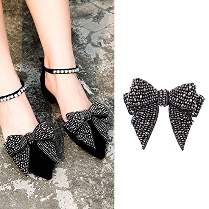 0c18c85f0762 2PCS DIY Handmade Rhinestone Bow Butterfly Shoe Straps Band Shoe Flower  Accessories Shoes Decoration Charms Flats
