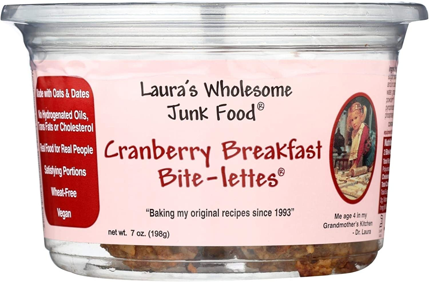 Lauras Wholesome Junk Food Breakfast Cranberry Bite-lettes Cookie, 7 Ounce (6-pack)