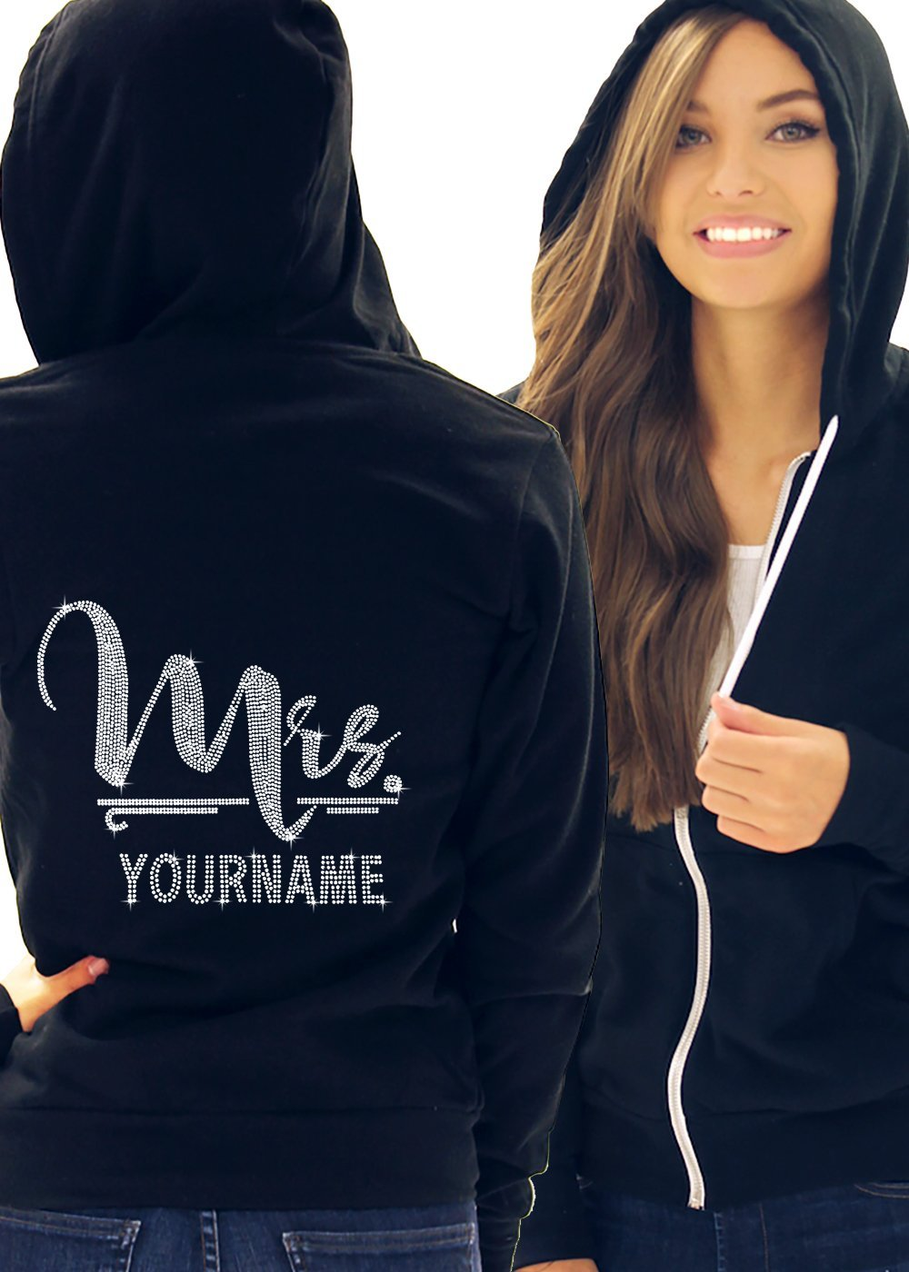 Foxy Mrs. with Custom Last Name Women's Hoodie Large Black