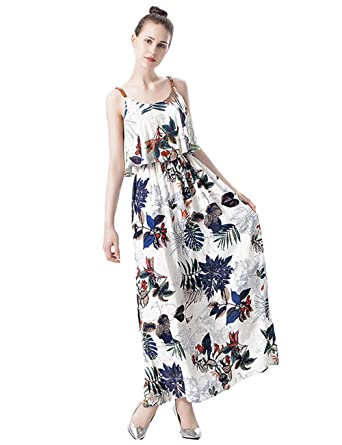 ebf8083d28340 IFUNLE Womens Floral Print Maxi Dress Sleeveless Straps Vintage Cotton Mixi Long  Summer Beachwear Evening Party