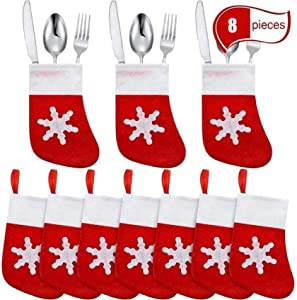 UNBRUVO Mini Christmas Stockings Knife Spoon Fork Bag Christmas Snowflake Decor Bag for Xmas Party Dinner Table Decoration Supplies 8PC (8PC, red)