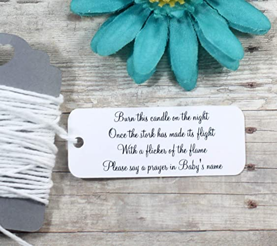 Amazon Com White Baby Shower Favor Tags Candle Gift Tags Set Of