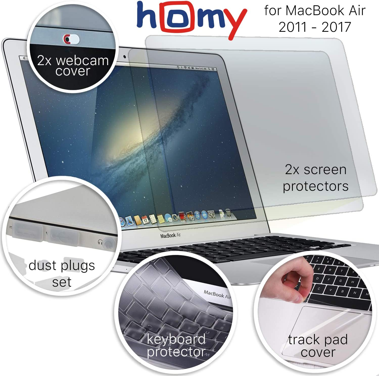 Homy Full Protection Kit for MacBook Air 13 inch 2017 or Earlier: 2X Matte Screen Protector + Keyboard Skin Touch ID + 2X Anti-Spy Camera Slide Cover + Dust Plugs + Trackpad Cover, A1369 / A1466