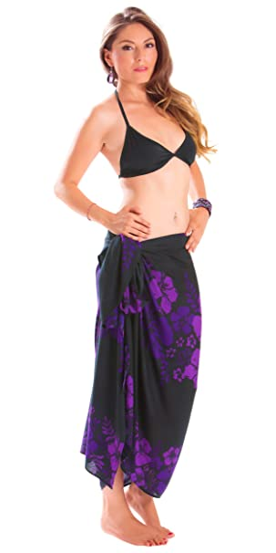 846cda546c 1 World Sarongs Womens Fringeless (TM) Floral Sarong Amethyst Magic Purple  and Black
