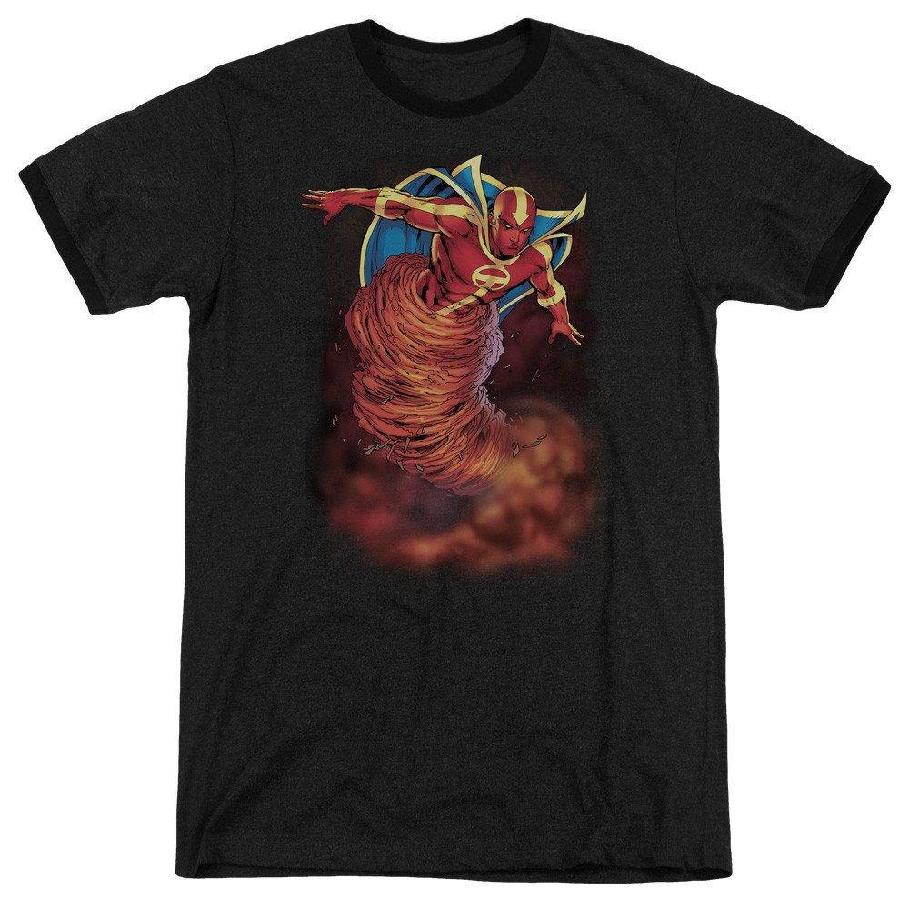Shirt S JLA Tornado Cloud Adult Ringer T