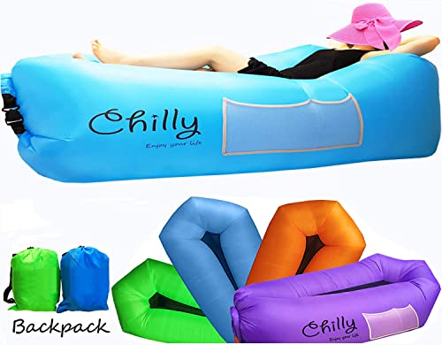 Chilly Inflatable Lounger, Newest Air Lounger Sofa Hammock Chair, Most Comfortable Inflatable Couch with Breathable Mesh Perfect for Backyard Beach Camping Hiking Picnic Music Festival