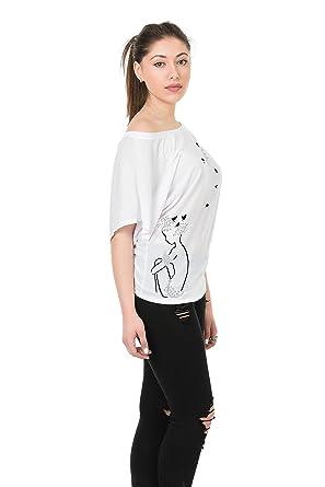 5c6fa1310 3Elfen Top lâches Chemise Chauve-Souris/t-Shirt Dame Imprime Magie ...