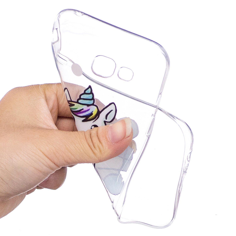 KM-Panda Coque Samsung Galaxy S7 Edge Licorne Rose Transparence Silicone TPU Transparent Motif Ultra Fine Slim Bumper Antichoc Etui Housse Case Cover
